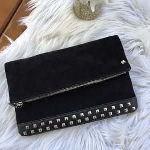 BLACK SUEDE LEATHER STUD FOLD OVER CLUTCH